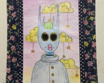 "Fashionista (pencil, colored pencil and acrylic 4.5x6"")"