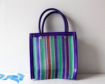 Mini traditional Mexican market hand bag in blue shades. Really cute, ideal for carrying small objects such as mobile, make up.