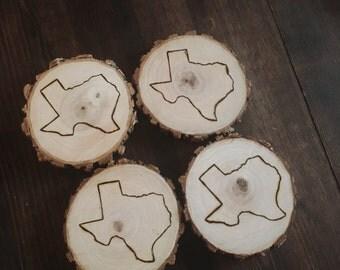 wood burned coasters and ornaments