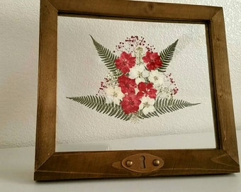 Framed Pressed Flowers- Red and White