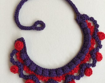 Purple and red wool cotton necklace