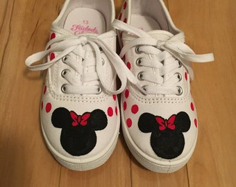 Minnie Mouse Painted Canvas Shoes