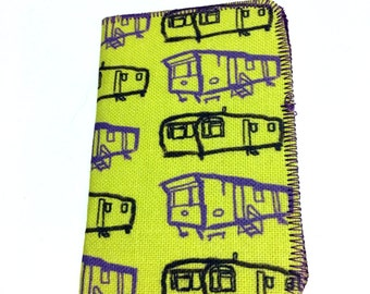 Double Card Holder Wallet- Yellow Caravan Design