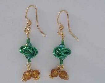 Custom Hand Made Earrings Festive Green Chain Mail Rosette With Ginger Ale Color Beads