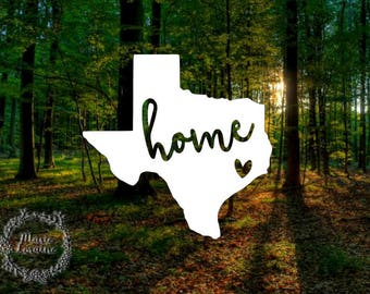 Texas Home - Texas Decal - Texas car sticker - Laptop stickers - Heart sticker - Texas Home sticker - Home - Texas car decal - Car decal