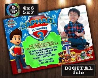 PAW PATROL Birthday Invitation, CUSTOM Digital File, Any age, With Photo
