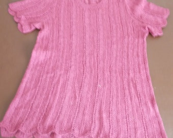 """Handknitted pink top, size 32"""" chest"""