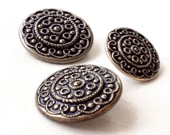 3 Silver Buttons, Silver Buttons Vintage, Filigree Buttons, Metal Buttons, Buttons For Crafts, Buttons For Jacket, Coat Buttons, Oktoberfest