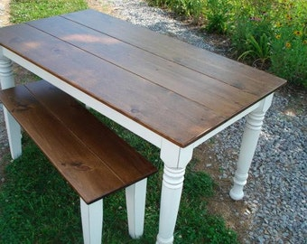 White Rustic Farmhouse Style Dining Table with Matching Bench
