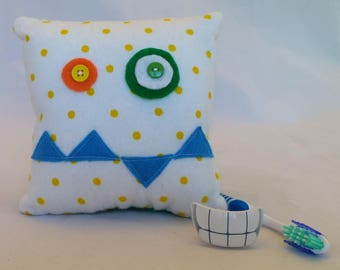 Monster Tooth Fairy Pillow - yellow polka dot, blue teeth, green back
