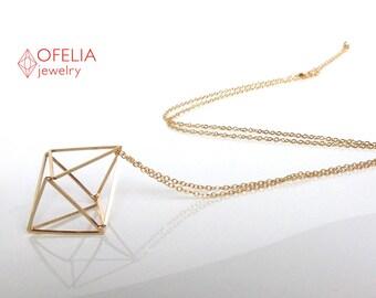 Necklace geometric gold, jewelry 3D, Jewelry minimalist, Gold pendant 3D, long Pendant, neckless filigree, girlfriend gift, woman 18, she 16