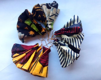small yellow, blue, red, brown, gold, orange trial drop african prints earrings