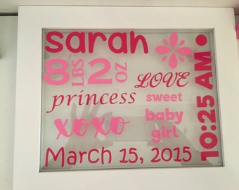 Personalized Baby Birth Announcement Frame