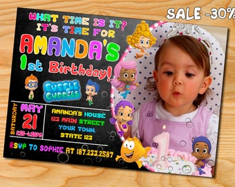 Bubble guppies invitation, bubble guppies invite, bubble guppies birthday party, bubble guppies birthday invitation, bubble gupies printable