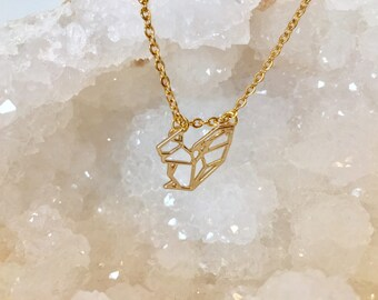 Modern Gold Squirrel pendant necklace