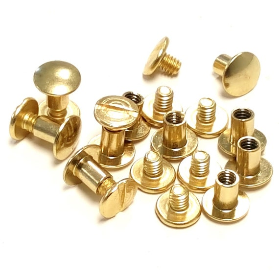 Pack quot brass plated gold chicago screws leather