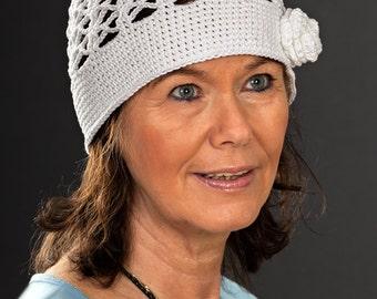 Crochet hat with rose (crochet, braid hat, summer hat, Purple Coneflower)