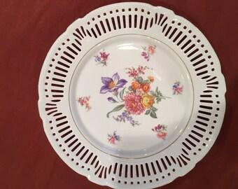 Schwarzenhammer Bavaria Plate - Reticulated - Floral Pattern