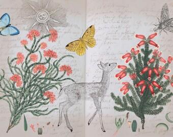 Deer artwork, botanical printable, nursery artwork, animal artwork, vintage botanical prints, deer art print, art collage
