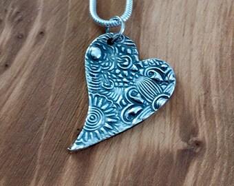Floral heart pendant, heart pendant, patterned heart pendant, floral heart necklace, pretty heart, necklace, pendant, silver heart, flowery