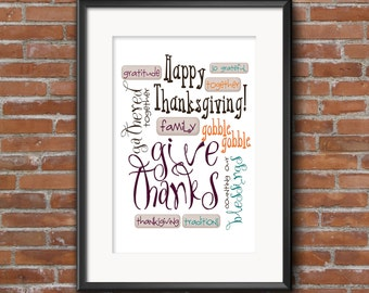 Printable art, 8x10, thanksgiving wall art, digital download art, subway art, digital print, printable download, give thanks