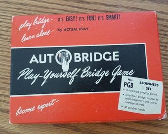 Vintage 1959 Auto Bridge Autobridge Self Teaching Solitaire Card Game Play Yourself Bridge Game