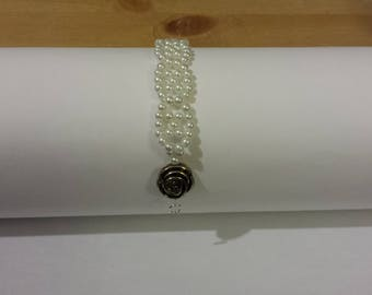 pearl bracelet with rose charm