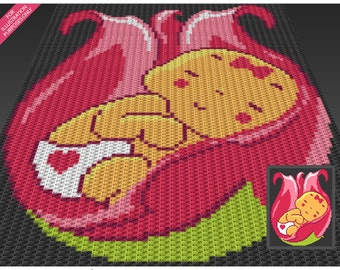 Flower Baby Girl crochet blanket pattern; c2c, cross stitch; knitting; graph; pdf download; no written counts or row-by-row instructions
