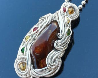 Fire agate, Citrine, Chrome Diopside and Sapphire Wire Wrapped Pendant