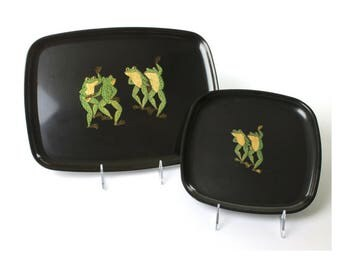 Set of 2 Vintage Couroc of Monterey Inlaid Dancing Frog Bar/Serving Trays