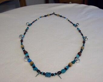 """Horse Rhythm Necklace, 52"""", Turquoise/Black"""