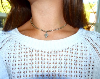 Four Way cross silver beaded necklace