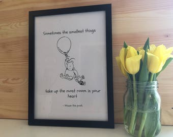 Winnie The Pooh Inspired Framed Print -Sometimes The Smallest Things