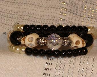Skull and Crystal Ball Bracelet