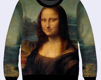 Mona Lisa Sweatshirt, Da Vinci Sweatshirt, Art Ladies Sweater, Women Sweatshirts, Khaki Sweat Shirt, Gift for Artist