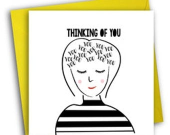 Thinking Of You Card/ Cute Greetings Card