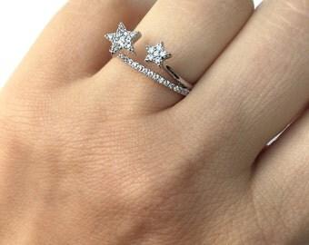 SALE Star ring, 2 stars ring, CZ stars star, Silver ring,Modern rings,CZ ring, Micro paved ring