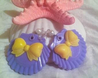 Purple and Yellow Seashell Earrings