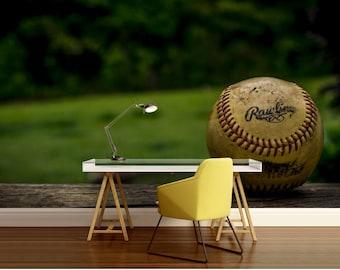 Baseball bat decal etsy for Baseball wallpaper mural