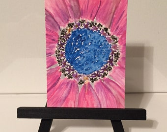 Original ACEO  watercolor flowers, floral artist trading card, ATC,  Bright Pink  Flower, ACEO painting, great gift