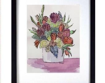 Floral artwork, watercolor pen and ink, Original Flower painting, Flower Art Print, Rose painting, Original Still life, Flowers in Vase