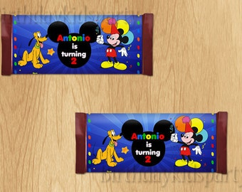 Mickey Mouse Candy Wrappers, Mickey Mouse Chocolate Wrappers, PERSONALIZED, Digital File