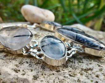 Beautiful Bracelet of protection and grounding Quartz Tourmaline inclusion