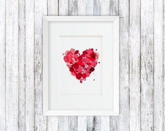 Heart wall art, Pink wall decor, Heart poster,  Printable Wall art, Wall prints, Heart printable, Heart Poster PDF, St. Valentine poster