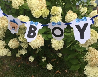 Bow Tie Hipster It's A Boy Baby Shower Banner. Colors can be Customized