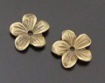 6 Pieces - 13*13*2MM Antique Bronze Flower Bead Caps - F3