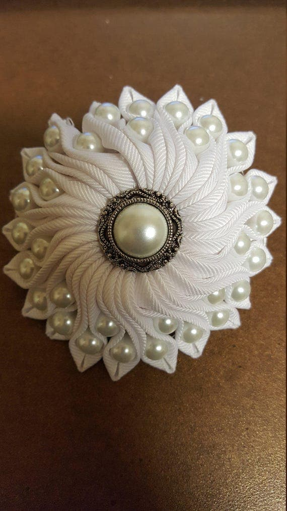 Grosgrain Ribbon Flower with Pearls