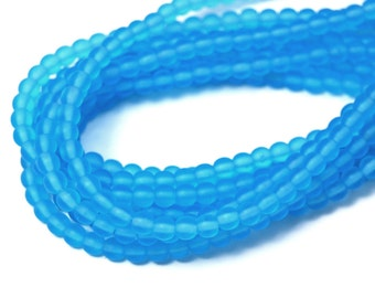 200/pc Matte Aquamarine Blue Czech 4mm Pressed Glass Round Beads