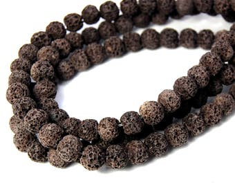 "Two 15.5"" strands Lava Rock Espresso Brown 8mm"