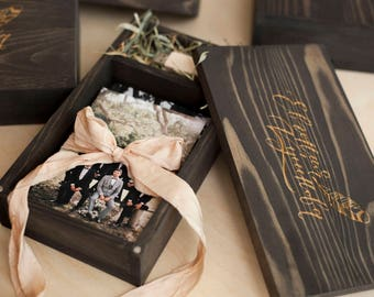 Wooden box for photos with engraved. Memory box. Wedding photo box.